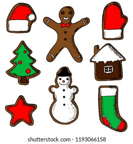 Hand-drawn set of colorful christmas cookie. Vector cartoon doodles. Isolated objects on a white background. Gingerbreads.