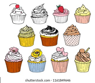 Hand-drawn set with cupcakes