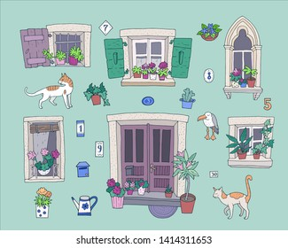 Hand-drawn set of cute architectural elements