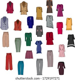 hand-drawn set of different women's fashion clothes from sweaters, dresses, trousers, jackets