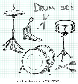 Hand-drawn set of drums