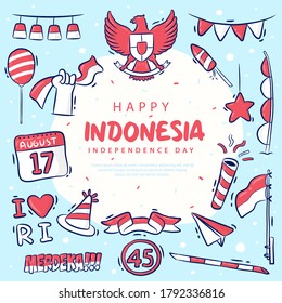 Hand-drawn set of element Indonesia Independence Day vector, Merdeka means Independent