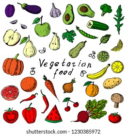 Hand-drawn set of fruits and vegetables. Vector cartoon sketches. Isolated objects on a white background. Vegetarian collection. Fresh food. Elements of menu.