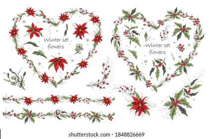 hand-drawn set, isolated flowers on a white background. realistic Botanical bouquets, wreaths. . modern flowers (poinsettia, white mistletoe, Holly), elements for floral design of postcards