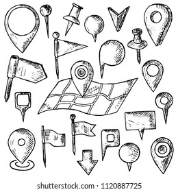 Hand-drawn set of map pins. Isolated objects on a white background. Vector cartoon doodles. Flags, pins and markers for designation of a location.