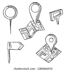 Hand-drawn set of map pins. Isolated objects on a white background. Vector cartoon doodles. Flags, pins and markers for location designation.