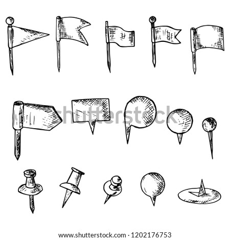 handdrawn set map pins isolated objects stock vector royalty free