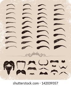 Hand-drawn set of mustache, beard, eyebrows.