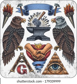 Hand-drawn set of old school mason theme tattoos.