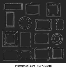 Hand-drawn set of photo frames. Scrapbook or digital concept. These photo frames you can use for kids picture or your love story. Vector illustration.