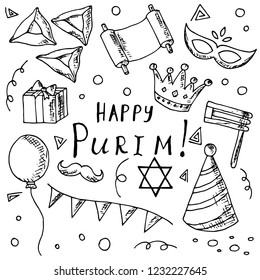 Hand-drawn set of Purim illustrations. Vector cartoon doodles. Isolated objects on a white background. Elements of holiday.