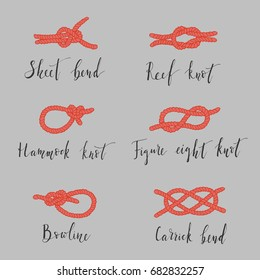 Hand-drawn set of sea bends with lettering made in vector