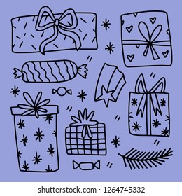 Hand-drawn set of stylized  gift boxes. Vector doodle illustration.