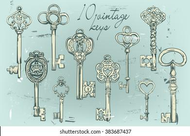 Hand-drawn set of various vintage keys.