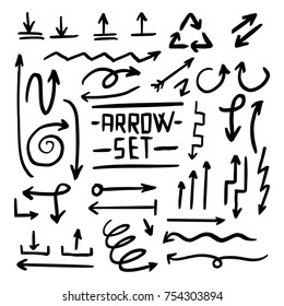 Handdrawn Set of Vector Arrows in Doodle Style Made With Brushes and Markers