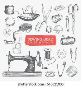 Hand-drawn sewing gear and tools illustration. Vintage sketch icons set. Eps10 vector.