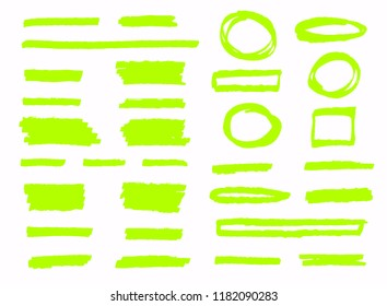 Hand-drawn shapes and lines. Highlighter strokes isolated on white background vector set.