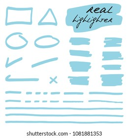 Hand-drawn shapes and lines - real highlighters. Blue. Vector set. Isolated on white background. Use for note, illustrations and decorations texts, articles, slideshow etc. Eps 10