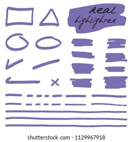 Hand-drawn shapes and lines - real highlighters. Purple. Vector set. Isolated on white background. Use for note, illustrations and decorations texts, articles, slideshow etc. Eps 10