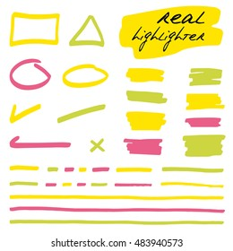 Hand-drawn shapes and lines - real highlighters. Colored. Vector set. Isolated on white background. Use for note, illustrations and decorations texts, articles, slideshow etc. Eps 10