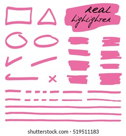 Hand-drawn shapes and lines - real highlighters. Pink. Vector set. Isolated on white background. Use for note, illustrations and decorations texts, articles, slideshow etc. Eps 10