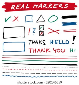 Hand-drawn shapes and lines - real spirituous markers. Black, green, blue, red. Vector set. Isolated on white background. Use for note, illustrations texts, articles, slideshow etc. Eps 10