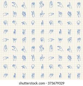 Hand-drawn sign language abc pattern