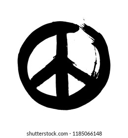 Handdrawn sign pacifist, peace hippie symbol. Hand written black lettering on white background.