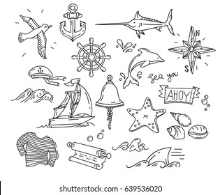 hand-drawn simple doodle elements of marine theme