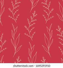 Hand-drawn simple floral vector seamless pattern. Light contour of branches, plants on a bright red background. For prints of fabrics, textile products, clothing, packaging