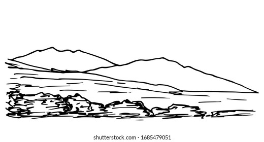 Hand-drawn simple vector drawing. The contour of the mountains on the horizon, hills, stones, panoramic landscape, rocky terrain. Tourism, travel, mountaineering. Wildlife of mountainous countries.