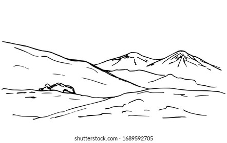 Hand-drawn simple vector sketchy drawing in black outline. Panoramic mountain landscape, hilly, rocky terrain, wildlife of mountainous countries. Geology, travel, tourism, camping.
