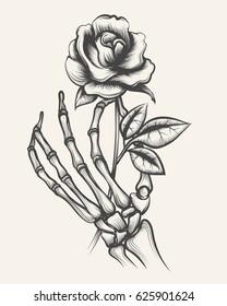 7fe3cf0282587 Handdrawn skeleton bones hand with rose flower engraved vector illustration