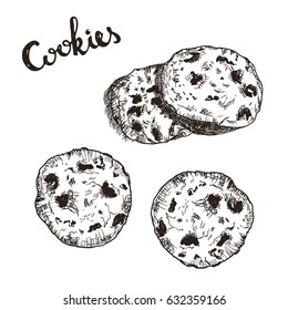 Handdrawn sketch of american cookies with chocolate pieces. Oatmeal sweet dessert. Drawing vintage cookies.