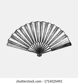 Hand-drawn sketch of Antique Japanese fan. Japanese women appearance attributes. Japan culture. Traditional accessories, clothing and makeup in Japan.