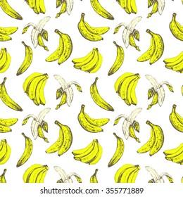Hand-drawn sketch of banana. Seamless nature pattern. Fresh organic food. Yellow background. Sketch style.
