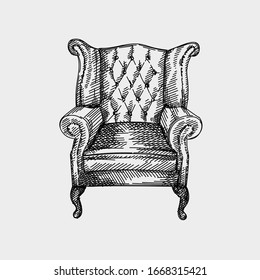 Hand-drawn sketch of Chesterfield leather armchair with quilted backrest. Armchair of antique periiod with long back. Vintage armchair. Chesterfield sofas