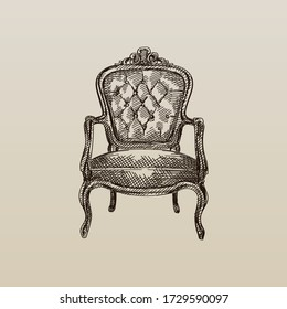 キルトと長い背もたれを持つチェスターフィールドの革の肘掛け椅子の手描きのスケッチ。 古代の肘掛け椅子。 ビンテージ肘掛け椅子。 チェスターフィールドソファ