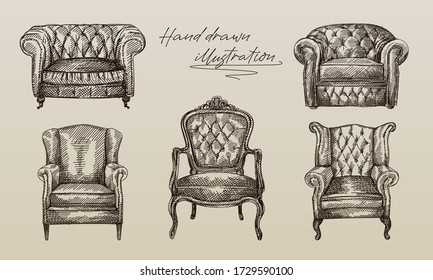 Hand-drawn sketch of collection of 5 armchairs of antique period. Chesterfield leather armchair with quilted and long backrest. Armchair of the antique period. Vintage armchair. Chesterfield sofas