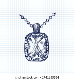Hand-drawn sketch of decorative antique jewellery. Beautiful vintage necklace with pendant on a white background. Antique accessories. Old bijouterie.