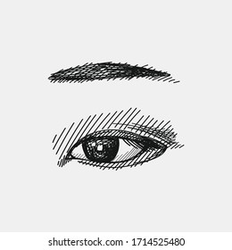 Hand-drawn sketch of eye and eyebrow. Eye and eyebrow make traditional japanese style. Japanese women appearance attributes. Japan culture. Traditional accessories, clothing and makeup in Japan.
