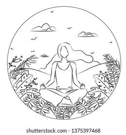Handdrawn sketch of a girl meditates on the desert landscape background