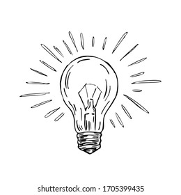 A hand-drawn sketch of a glowing light bulb.