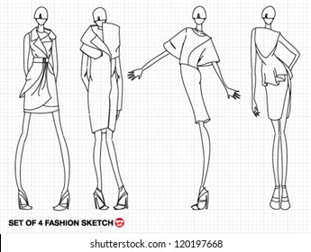silhouettes african men women traditional clothing stock vector 1700s Fashion hand drawn sketch high fashion model with luxury dress