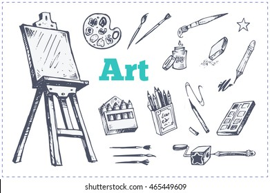 Hand-drawn sketch icons - easel, paint, pencils, brushes. Isolated vector for packaging design, notebooks, web store, school art section. children's cartoon style