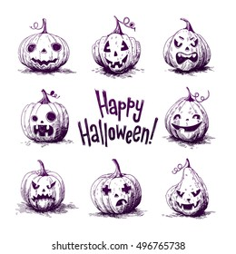 Hand-drawn Sketch illustrations of a carved pumpkins. Halloween night.