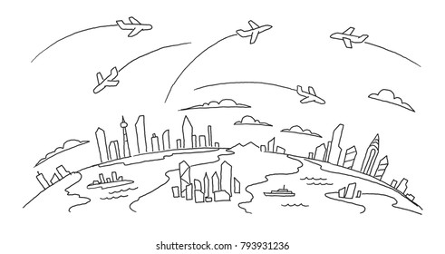 Hand-drawn sketch. lanes fly over the cities above the ground air flights airline banner. Hand drawn black line