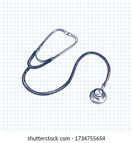 Hand-drawn sketch of Littmann Classic Stethoscope. Medical tools. First aid. Classic Stethoscope. Stethoscope to measure auscultation, or listening to the internal sounds of an animal or human body.