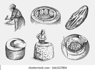 Hand-drawn sketch of the making Azerbaijan national tandir bread, pita or pide bread dough. Cay oven for baking tandir bread. Top view. Tandir hanging and baking in the clay oven.