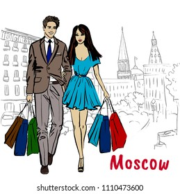 Hand-drawn sketch of man and woman with shopping bags in Moscow, Russia